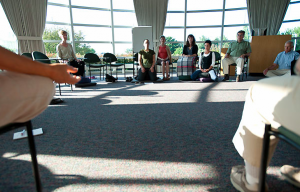 Students participate in a mindfulness meditation class. (UW Photo Library)